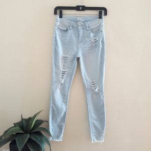 Light Blue Fringe Jeans